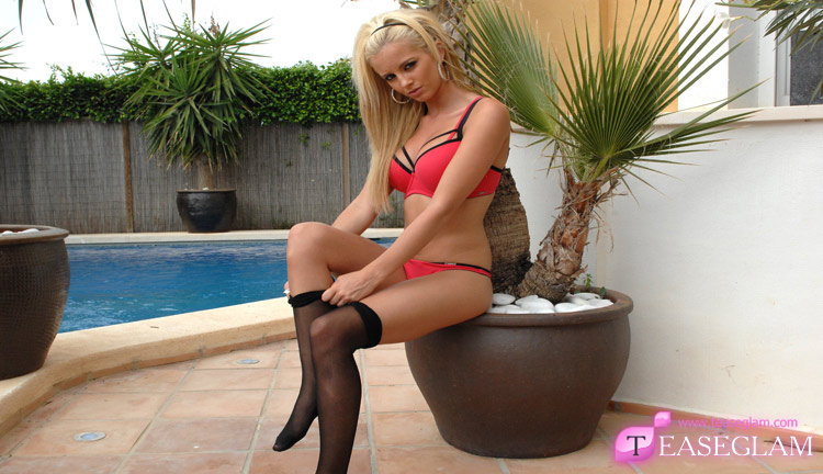 Gemma in black nylons round the pool
