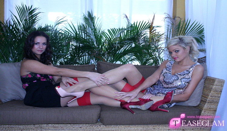 Charlee Lynn and Emma Spellar in sexy red stockings
